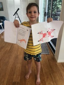 Homeschooling - work he's most proud of: drone and fox drawing!